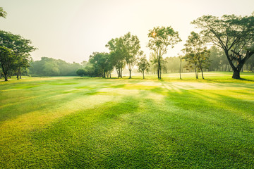 Keuken foto achterwand Lime groen Scenery green golf and meadow with sunbeam in morning, Wonderful sunbeam at the natural park, Scenery fairway with trees and green grass field