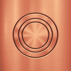 Fototapete - Bronze metal technology background with circle for and polished, brushed metallic texture, chrome, silver, steel, rust for design concepts, wallpapers, interfaces, web and prints. Vector illustration.