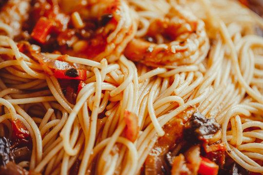 Angel Hair Pasta with tomato Sauce, Garlic and Shrimp.