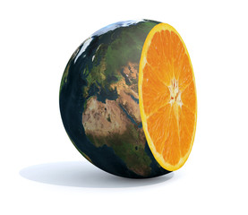 planet earth cut with an orange inside