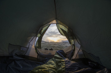 Looking out of a Camping Tent