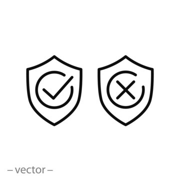 shields with check marks icons, line signs - vector illustration eps10