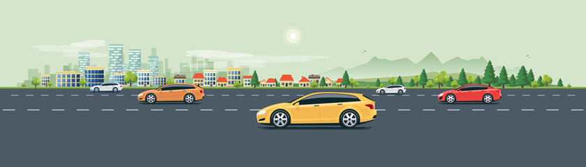 Papiers peints Cartoon voitures Flat vector cartoon style illustration of urban landscape street with cars, skyline city office buildings, family houses in small town and mountain with green trees in backround. Traffic on the road.