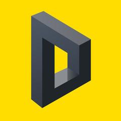 illusion d'optique - lettre D - symbole - énigme - concept - optique - mystère - vision - logo