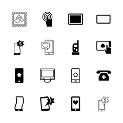 Collection of 16 smartphone filled and outline icons