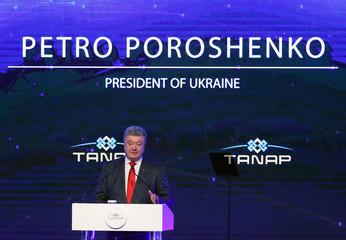 President Petro Poroshenko of Ukraine speaks during the inauguration ceremony of TANAP in Eskisehir