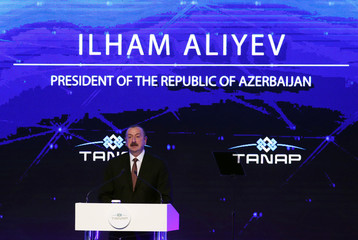 Azerbaijan's President Ilham Aliyev speaks during the inauguration ceremony of TANAP in Eskisehir