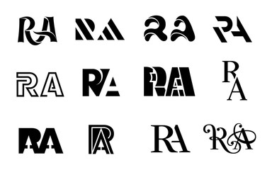 Letter R and A monogram logo set, simple style.