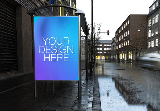 Outdoor Kiosk Advertisement Mockup