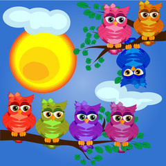 Two bright, cartoon, lovely, colorful owl-girls drink coffee on a flowering branch of a tree. Morning, breakfast