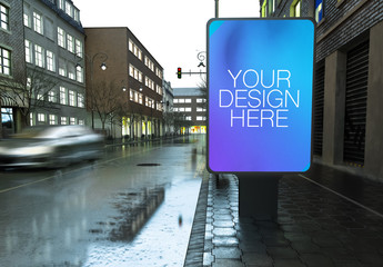 Outdoor Kiosk Advertisement Mockup