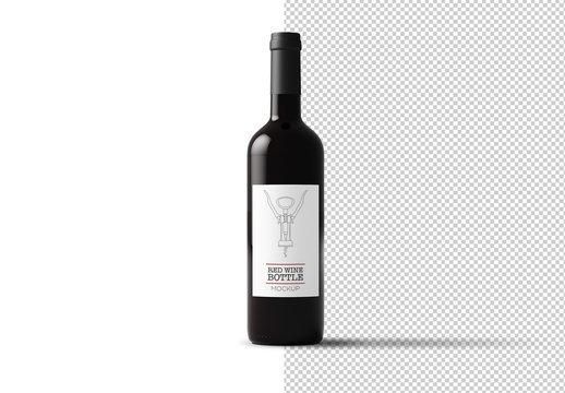 Bottle of Red Wine Mockup