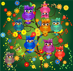 Funny owls on branch in flowers. Spring concept background. Bright illustration, can be used as invitation card. Vector summer wallpaper