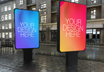 2 Outdoor Kiosk Advertisements Mockup
