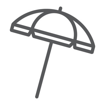 Beach umbrella line icon, travel and parasol, sun umbrella sign vector graphics, a linear pattern on a white background, eps 10.