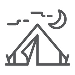 Tourist tent line icon, travel and tourism, camping sign vector graphics, a linear pattern on a white background, eps 10.