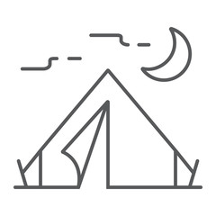 Tourist tent thin line icon, travel and tourism, camping sign vector graphics, a linear pattern on a white background, eps 10.