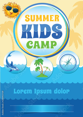 summer camp template sea holiday flyer travel vector banner