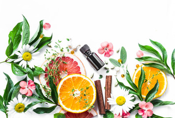 Essential oil for beauty skin. Flat lay beauty ingredients on a light background, top view. Beauty healthy lifestyle concept. Copy space Wall mural