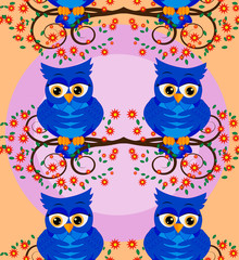 Cute seamless pattern with owls and stars in pastel colors. Vector illustration