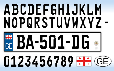 Georgia car plate, letters, numbers and symbols