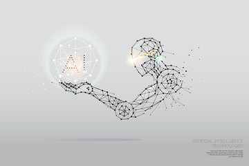 The particles, geometric art, line and dot of AI Technology.