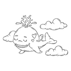 A whale with wings in the sky with hearts.
