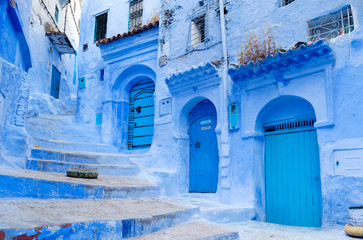 Street landscape of the of old historical medieval city Сhefchaouen in Morocco. Blue town village narrow streets of medina