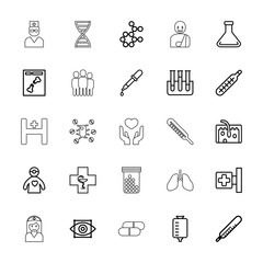 Collection of 25 medicine outline icons