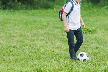 cropped shot of kid playing with soccer ball on grass field