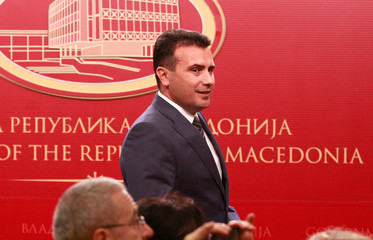 Macedonian PM Zaev arrives to address the media at the government offices in Skopje