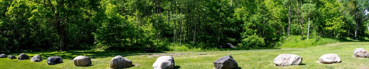 Panoramic view of a series of rocks in the Adirondack Park