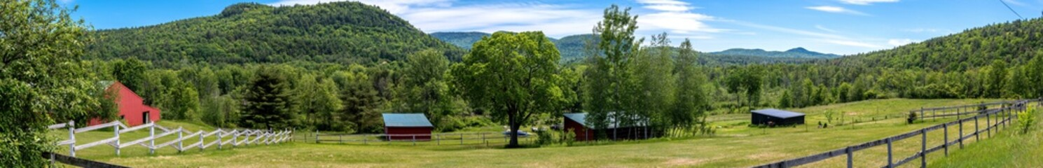 Panoramic view of farm buildings in the Adirondacks Mountains 1