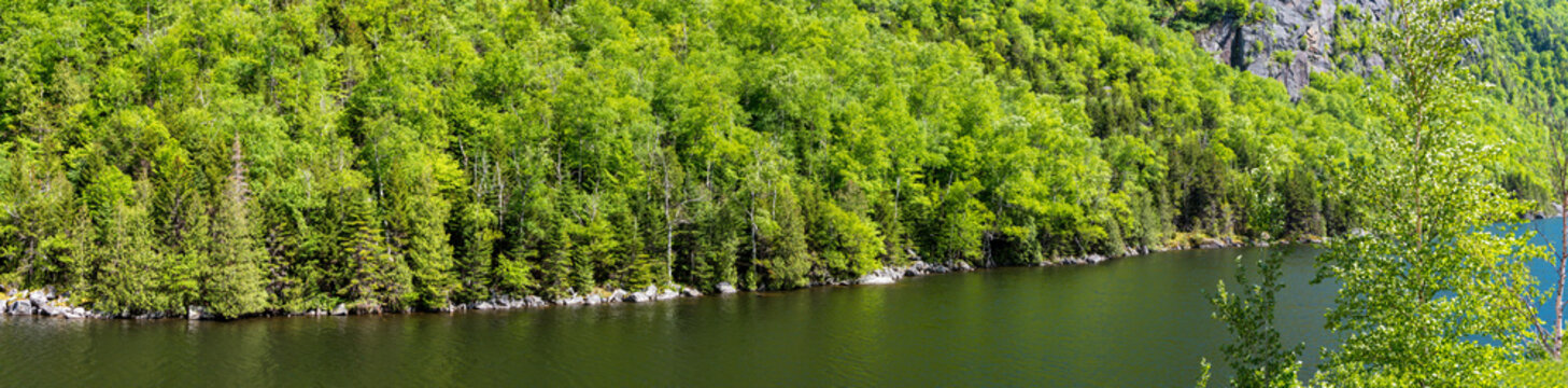 Panoramic view of a wooded cliff near a lake in Adirondacks Mountains