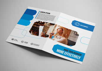 Brochure Layout with Blue Geometric Elements