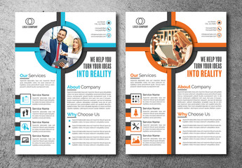 Flyer Layout with Central Circle Element