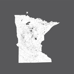 U.S. states - map of Minnesota. Please look at my other images of cartographic series - they are all very detailed and carefully drawn by hand WITH RIVERS AND LAKES.