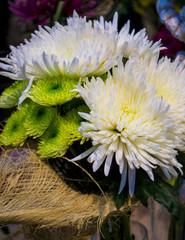 bouquet of white dahlias