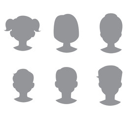 Grey avatars of woman, man, boy and girl. Isolaterd on white background.Vector illustration