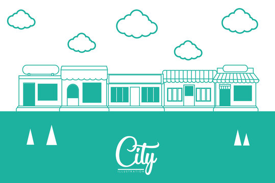 city design with stores and clouds over colorful line design. vector illustration