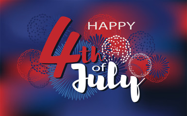 Independence day vector background. Happy 4th of July fireworks illustration.