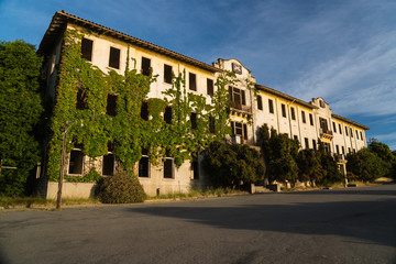 Abandoned military base structures on Angel Island
