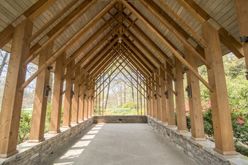 Wood Shelter with Arches in Woods