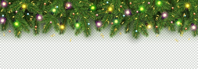 Christmas and New Year banner of realistic branches of Christmas tree, garland with glowing light bulbs, holly berries, serpentine