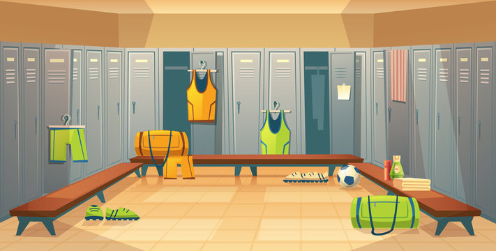 Vector changing room with lockers for football, basketball team for game background. Dressing of sports uniform, training equipment or athletic costume. Cartoon shelves in school gym