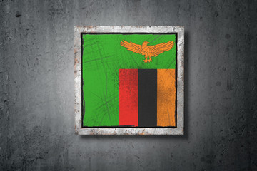 Republic of Zambia flag in concrete wall