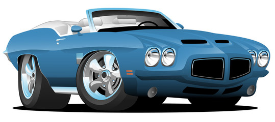 Photo sur Plexiglas Cartoon voitures Classic Seventies Style American Convertible Muscle Car Cartoon Vector Illustration