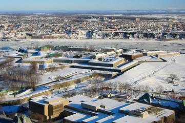 La Citadelle de Québec in winter, Quebec, Canada. Historic District of Quebec City is UNESCO World Heritage Site since 1985.