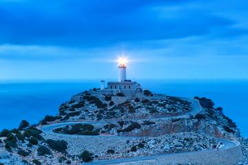 Leuchtturm Cap Formentor Mallorca Abend Nacht Spanien