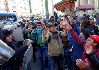 Students from the UPEA protest in the centre of La Paz